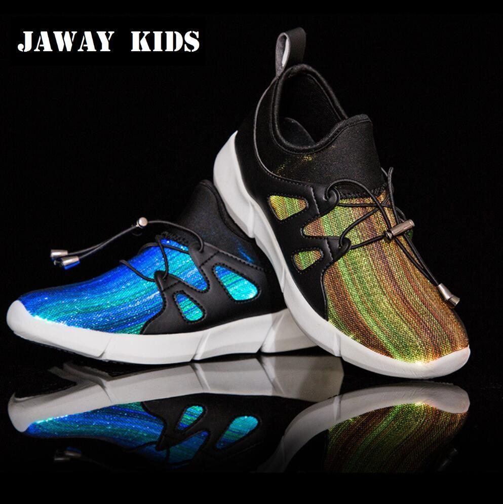 JawayKids 25-41 Neue Fiber Optic Schuhe für Kinder, männer und frauen Glowing Turnschuhe Kinder Led Schuhe USB aufladbare licht up Schuhe