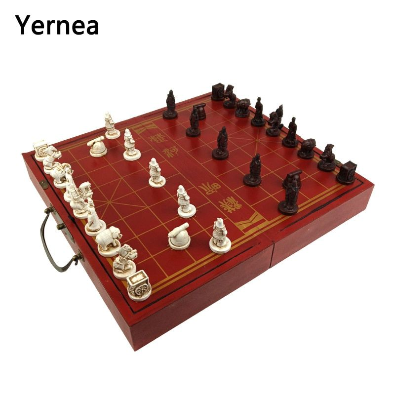 Yernea High-grade Wooden Chinese Chess Game Set Folding Chessboard Chinese Traditions Chess Resin Chess Pieces New Board Game