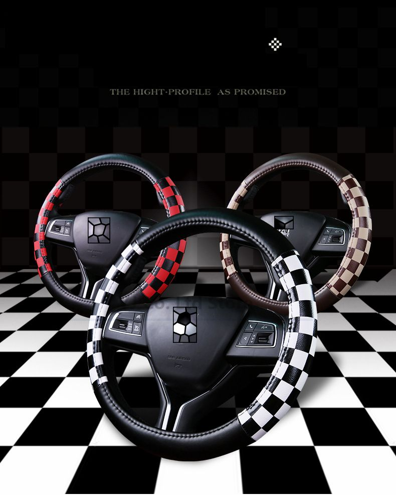 Car Styling Four Season Car steering wheel car-covers 38cm Classical Plaid Artificial Leather SteeringWheel Car Covers Accessory