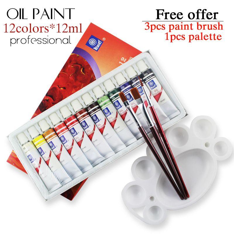 Peinture à l'huile Tube de marque professionnelle art pour artistes toile Pigment Art fournitures dessin 12 ML 12 couleurs ensemble d'outils de peinture