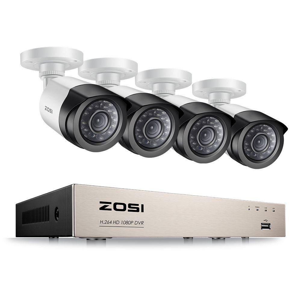 ZOSI 4CH 1080P HDMI P2P TVI DVR Surveillance System Video Output <font><b>4PCS</b></font> 2000TVL 2.0MP IP Camera Home Security CCTV Kits NO HDD