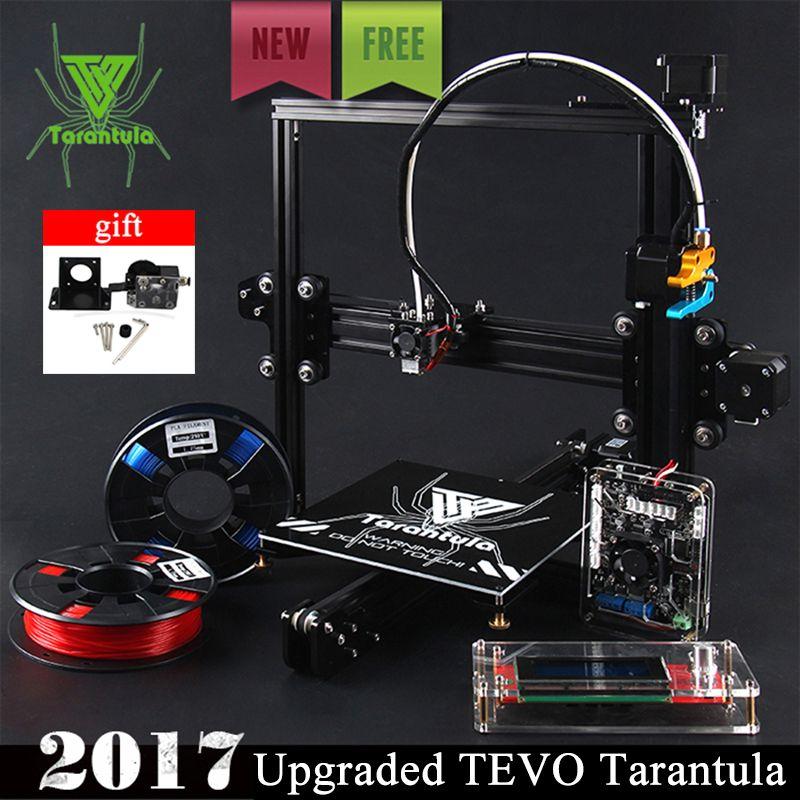 2017 новые tevo Тарантул I3 алюминиевого профиля 3D-принтеры комплект принтер 3D печать 2 рулона нити 1 ГБ SD карты ЖК-дисплей как подарок