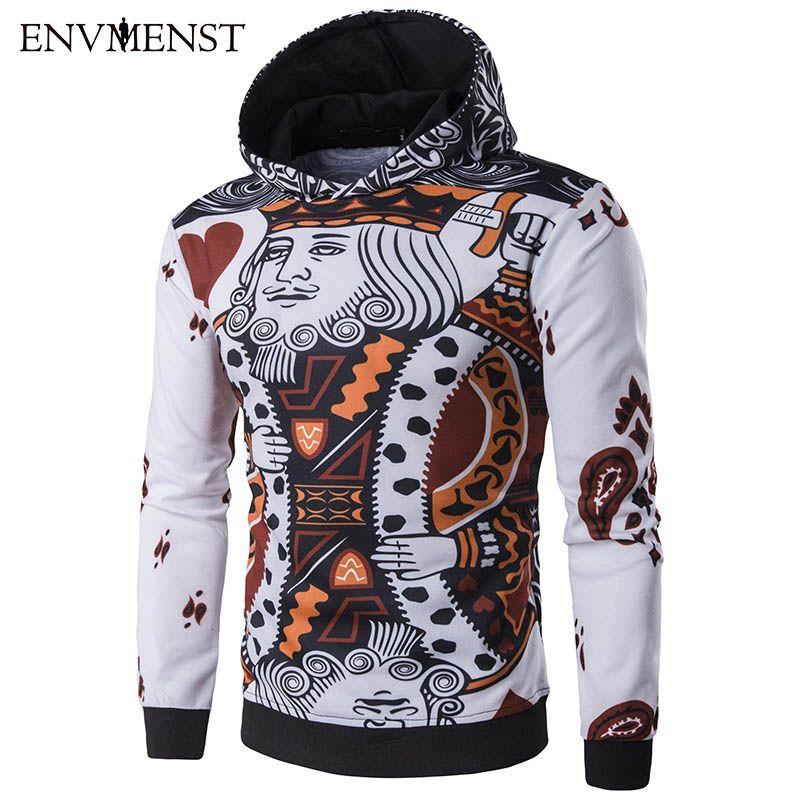 Envmenst 2017 New Fashion Men's Hoodies 3D Poker Printed Casual Long Sleeved Brand Clothing Slim Fit Sweatshirts