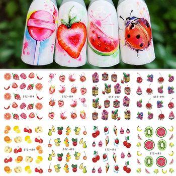 1 Sheet Water Transfer Nail Sticker Decals Fruit Cream Cake Cat Beauty Decoration Designs DIY Color Tattoo Tip SASTZ489-500