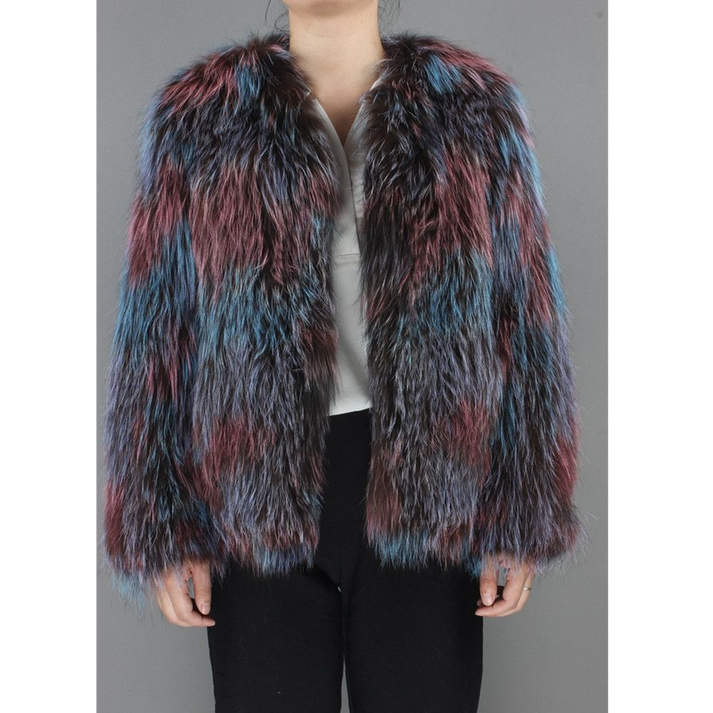 ZY89028 2017New Arrival Knitted Autumn and Winter Fashion Luxury Women Real Silver Fox Fur O-Neck Colorful Coat Long Jackt