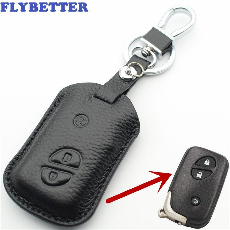 FLYBETTER Echtem Leder 3 Taste Keyless Entry Smart Schlüssel Fall Abdeckung Für Lexus ES250/RX270/RX350/GX460 /GS350 Auto Styling L1871