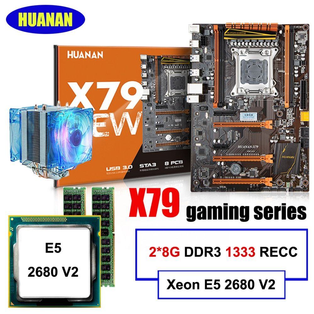 New arrival!!!HUANAN DELUXE X79 LGA2011 motherboard set Xeon E5 2680 V2 RAM 16G(2*8G) DDR3 1333MHz RECC with CPU cooler all test
