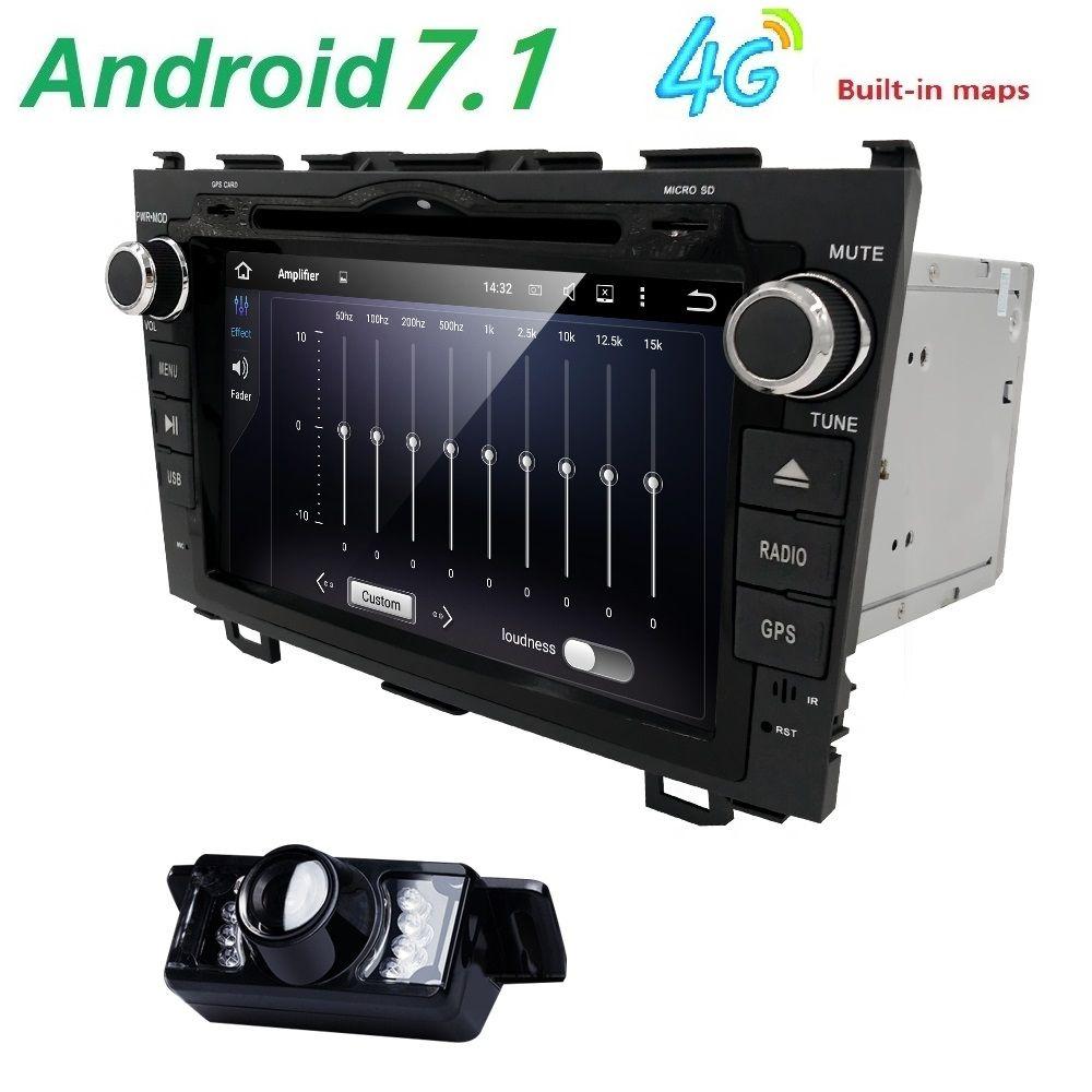 HD Quad Core A9 1.6 GHz 1024X600 Android 7.1 Voiture Lecteur DVD pour Honda CRV CR-V 2006-2011 4G WiFi GPS Navigation Stéréo Vidéo SD