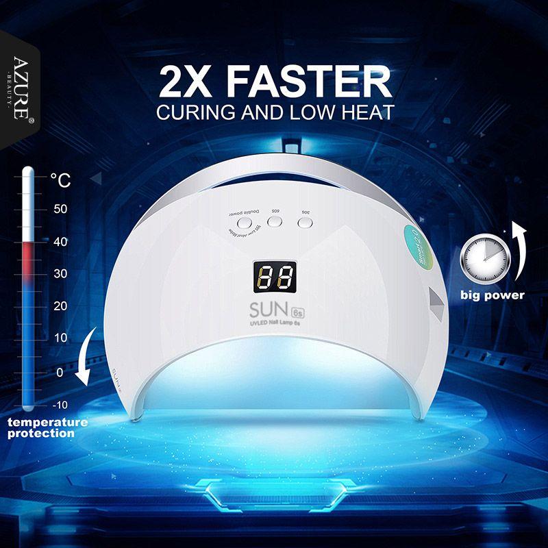 Azur Nail Sèche-Lampe 48 W SUN6 Blanc Lumière Professionnel Manucure LED UV Sèche-Lampe Durcissement Tous Les Gel Nail Affichage Polonais Nail Art