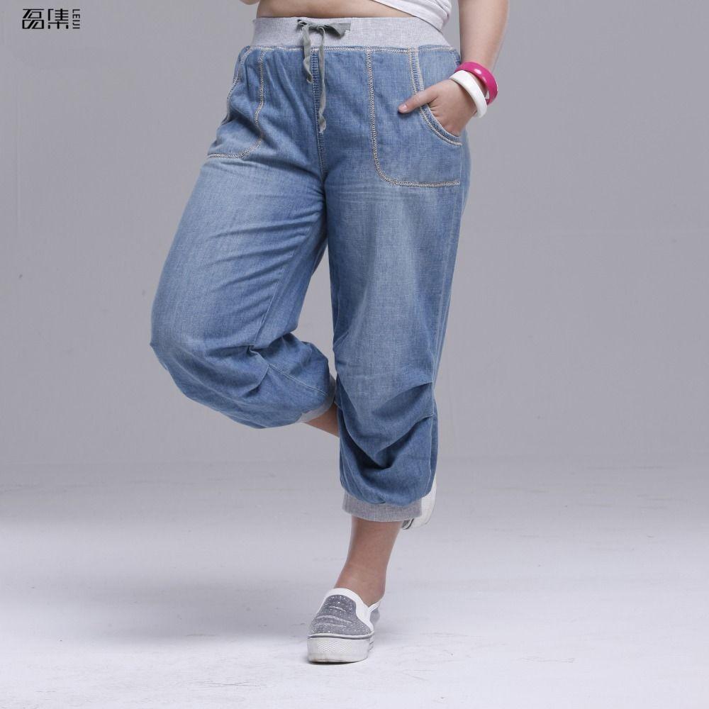 2018 d'été femmes jeans sarouel plus la taille lâche pantalon pour femmes denim pantalons Capris 6XL