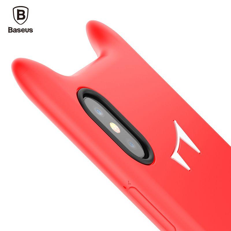 Baseus Bébé Chat Mignon Cas De Téléphone Pour iPhone X 10 Capinhas de luxe En Silicone Souple Couverture Arrière Pour iPhone X Femme Fille Coque Fundas