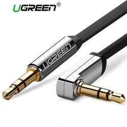 Ugreen AUX Cable 3.5mm Audio Cable 90 Degree Right Angle Flat Jack 3.5 mm for iPhone Car Headphone Speaker Cable AUX Cord MP3/4
