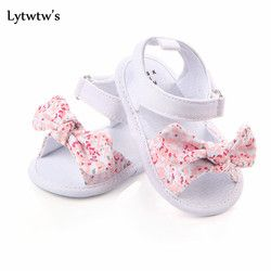 1 Pair Lytwtw's Children Baby Kids Boys girls Shoes Non-Slip Canvas Bowknot Toddlers Newborn Infantil sandals