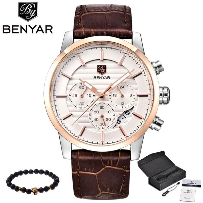 BENYAR Men Watch Top Brand Luxury Quartz Watch Mens Sport Fashion Analog Leather Strap Male Wristwatch New Waterproof <font><b>Clock</b></font> xfcs