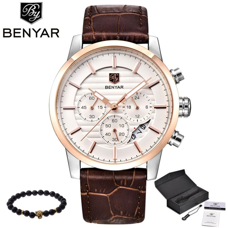 BENYAR Men Watch Top Brand Luxury <font><b>Quartz</b></font> Watch Mens Sport Fashion Analog Leather Strap Male Wristwatch New Waterproof Clock xfcs
