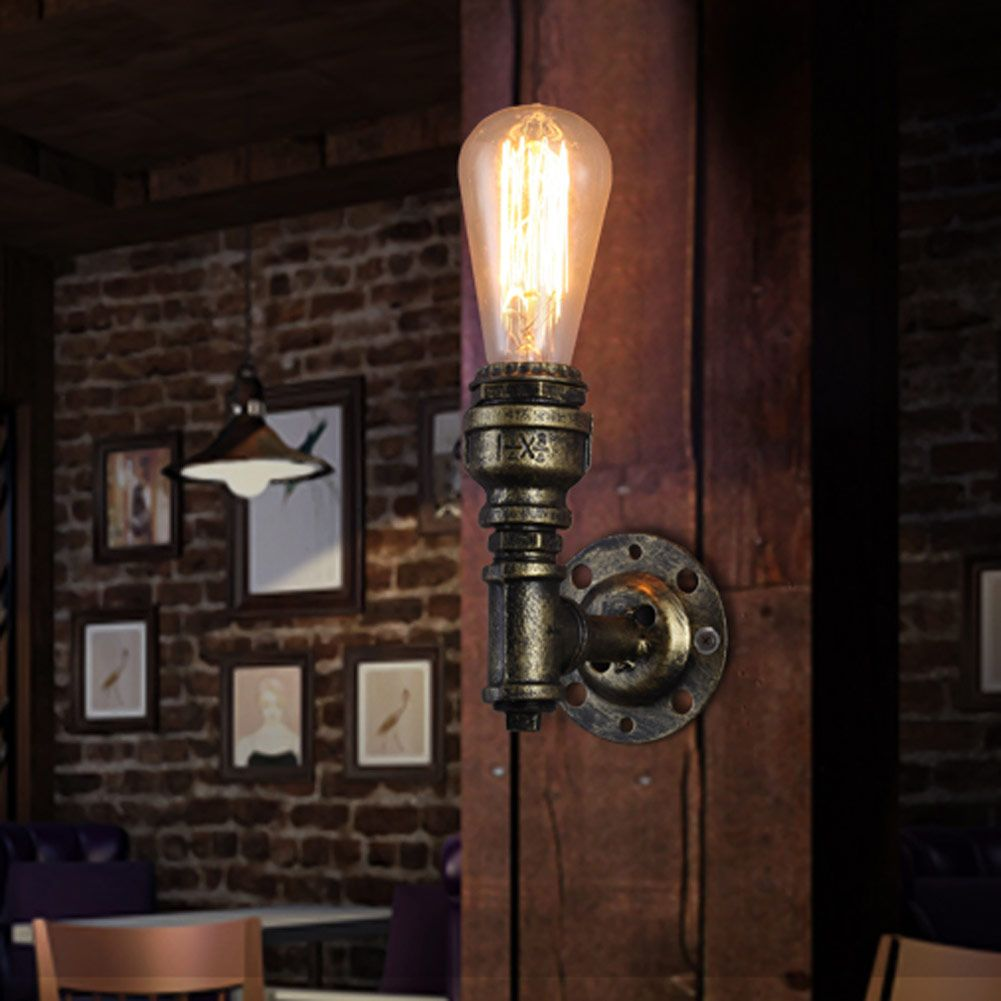 American Loft Style Wall Lamps E27 Retro Water Pipe Vintage Wall Sconce Wall Light for Home Lighting Edison Lamp