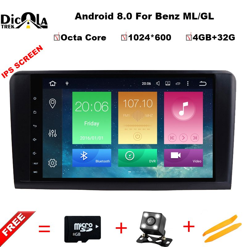 Octa Core 9''Car Android 8.0 Car DVD GPS Player For Mercedes Benz ML W164 W300 ML350 ML450 ML500 GL X164 G320 GL350 GL450 GL500