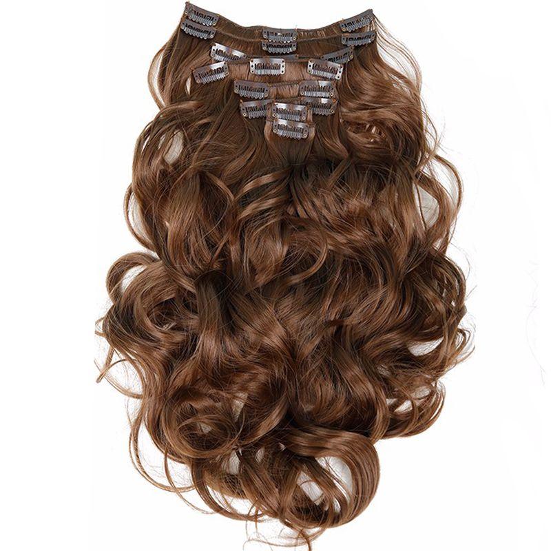 Clip dans les Cheveux Extensions 8 pcs 22 pouces 55 cm Long Postiche Ondulés Résistant À La Chaleur Synthétique Extension de Cheveux Naturels