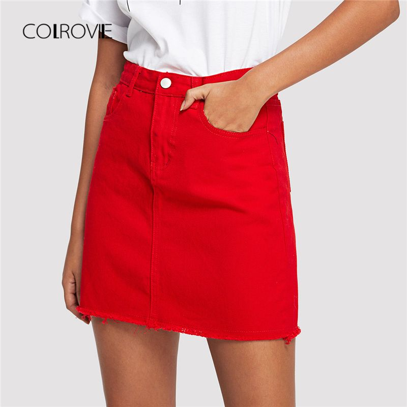 COLROVIE Frayed Hem Pockets Denim Skirt 2018 New Red Ripped Mid Waist Girly Casual Mini Skirt Summer A <font><b>Line</b></font> Basic Women Skirt