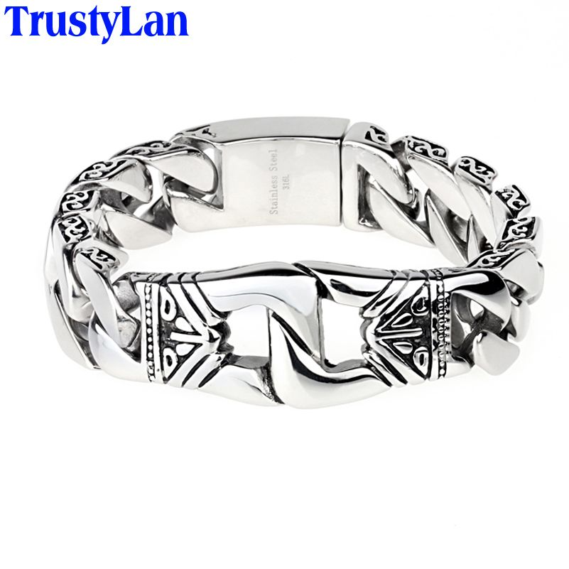 TrustyLan Vintage 21MM Wide Bracelets Bangles Stainless Steel Chain Bracelet Men Punk Jewelry Accessories Armband Dropshipping