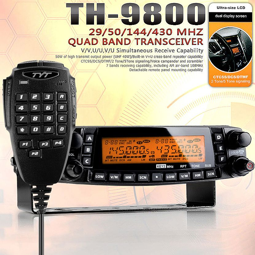 TYT TH-9800 Pro 50W 809CH Quad Band Dual Display Repeater Scrambler VHF UHF Transceiver Car Truck Ham Radio Base