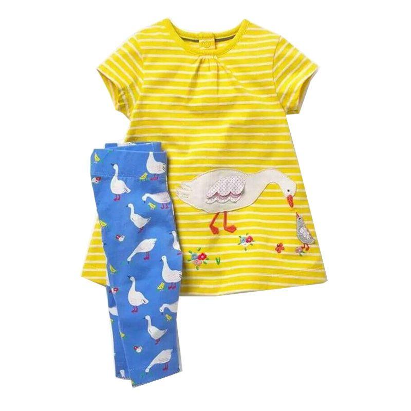 Toddler Girl Outfits 2018 Kids Sets Girls Summer Clothes Animal Applique Dress+Leggings Children Clothing <font><b>Baby</b></font> Girl Tracksuit