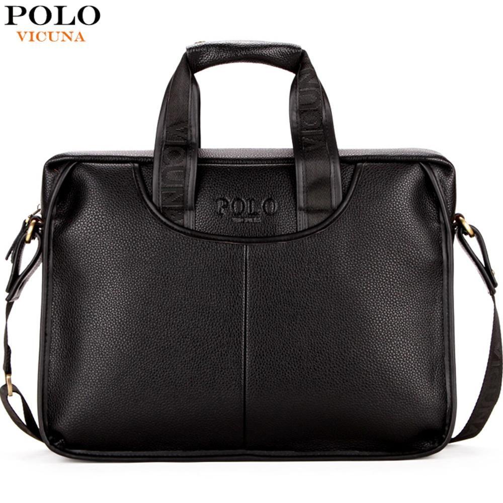 VICUNA POLO Design classique grande taille en cuir porte-documents hommes décontracté Business homme sac bureau porte-documents sacs pochette d'ordinateur maletin