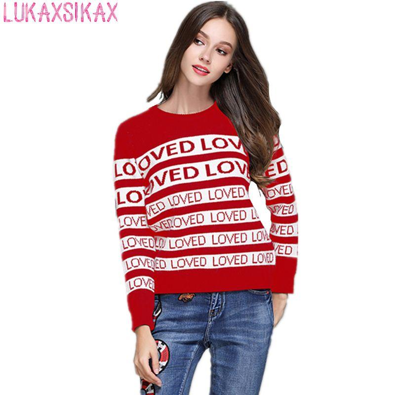 2018 New Women Autumn Winter Thicken Warm Sweater High-end Custom Fashion LOVED Letter Stripe <font><b>Pattern</b></font> Designer Runway Sweater