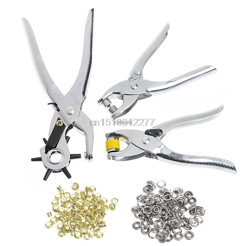 128Pcs/Set Leather Hole Punch Repair Tool Eyelets Grommets + Pliers Kit M15 dropshipping