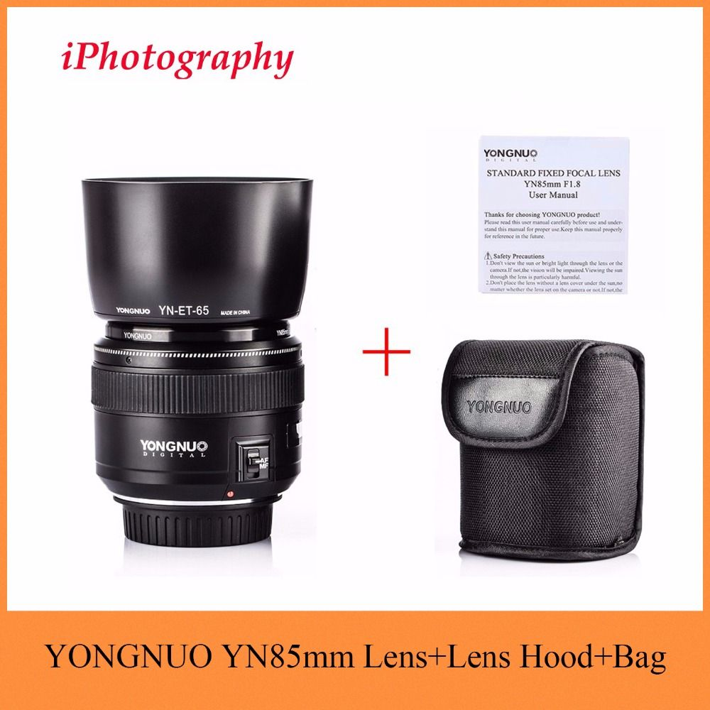 YONGNUO YN85mm F1.8 Lens +Lens Hood Standard Medium Telephoto Prime fixed focus lens For Canon EF Camera 7D 5D Mark III 80D 70D
