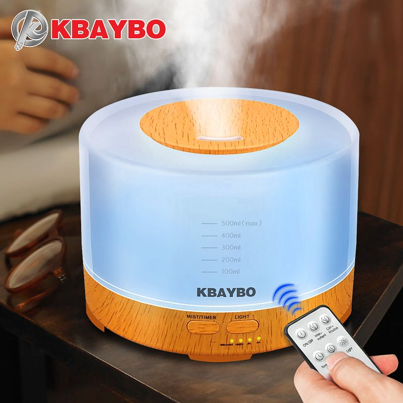 KBAYBO Essential Oil Diffuser 500ml <font><b>remote</b></font> control Aroma mist Ultrasonic Air Humidifier 4 Timer Settings LED light Aromatherapy