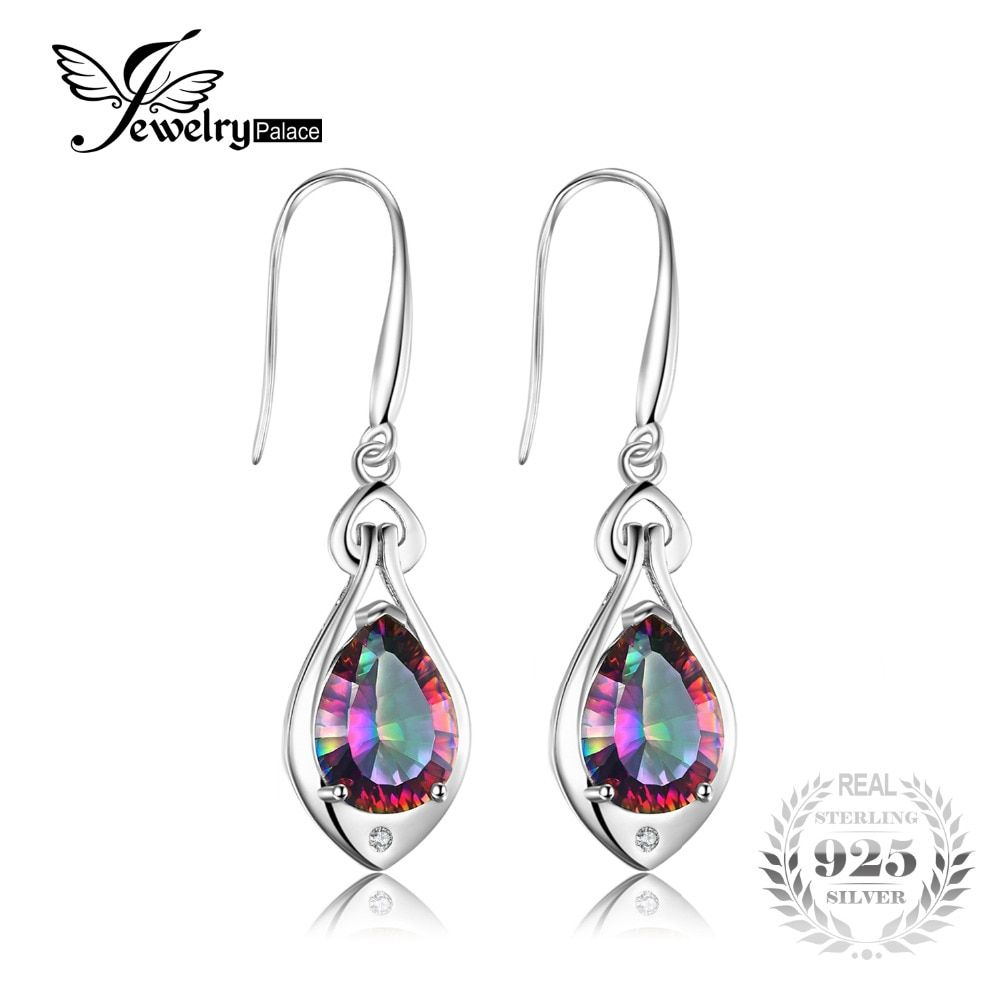 Jewelry Water Drop 6.8ct Rainbow Fire Mystic Topaz Dangle Earrings Pure 925 Sterling Silver 2016 New Fine Jewelry For Women