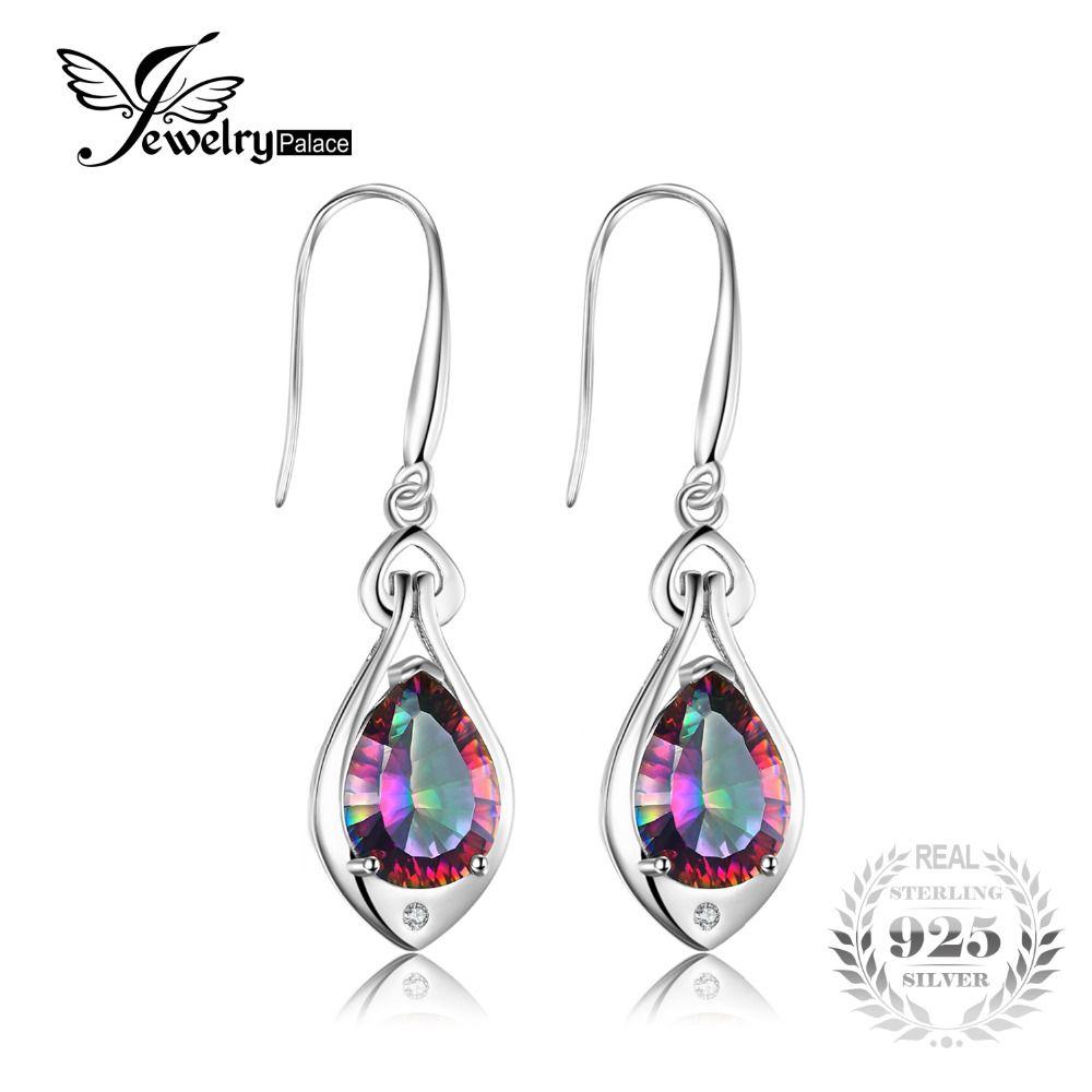 Jewelry Water Drop 6.8ct Rainbow Fire Mystic Topaz Dangle Earrings Pure 925 Sterling Silver New Fine Jewelry For Women