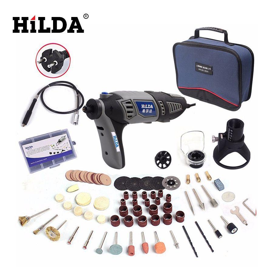 HILDA 220V 180W Dremel style Electric Rotary Power Tool Mini Drill with Flexible Shaft 133pcs Accessories Set Storage Bag