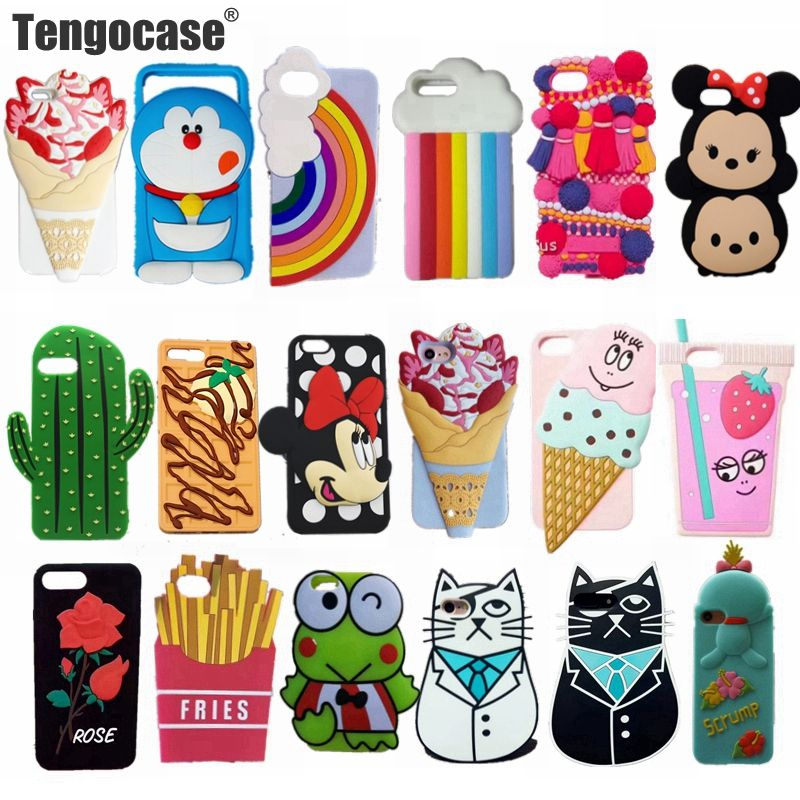 Tengocase 3D симпатичный чехол для iPhone 7 7 плюс мультфильм Минни Маус кошка Мороженое Мягкий силиконовый чехол для iPhone 6 6S плюс