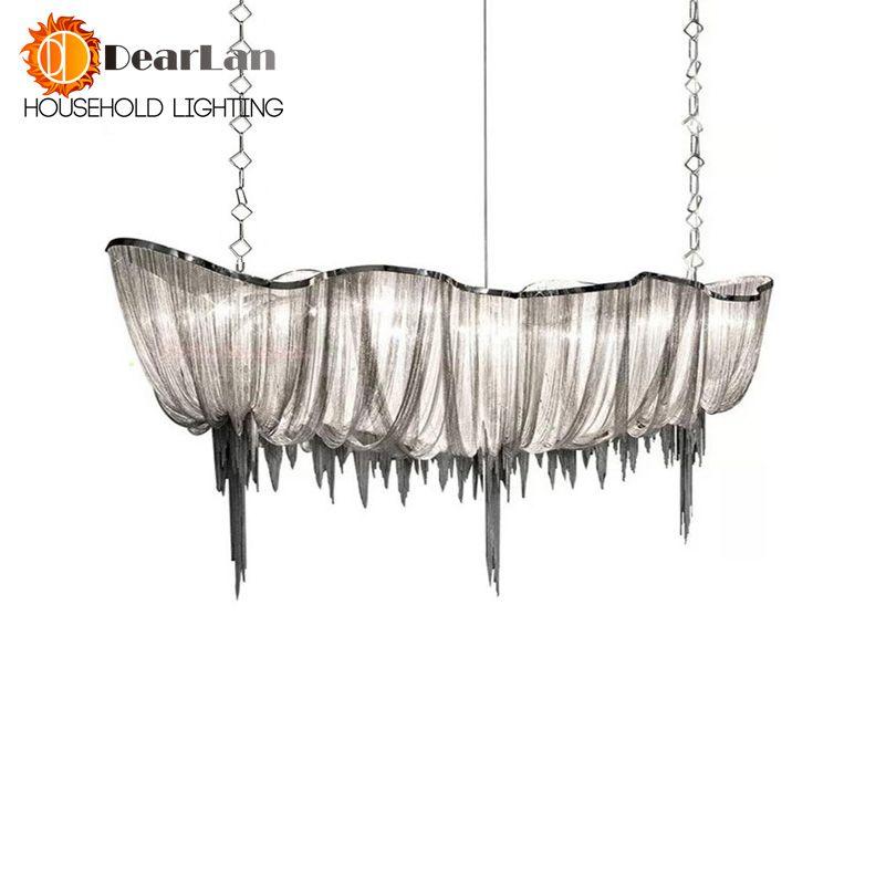 Modern Chain Cloth Shaped Art Pendant Lights Engineering Design Luxury Aluminum Chain LED Pendant Lamp For Indoor Decor(DZ-50)
