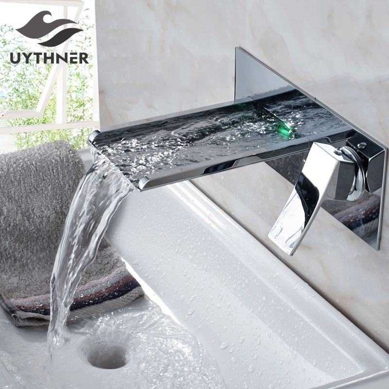 Bathtub Faucet Chrome Brass Wall Mount Waterfall Bathroom Faucet LED Spout Single Lever Vanity Sink Mixer Water Tap