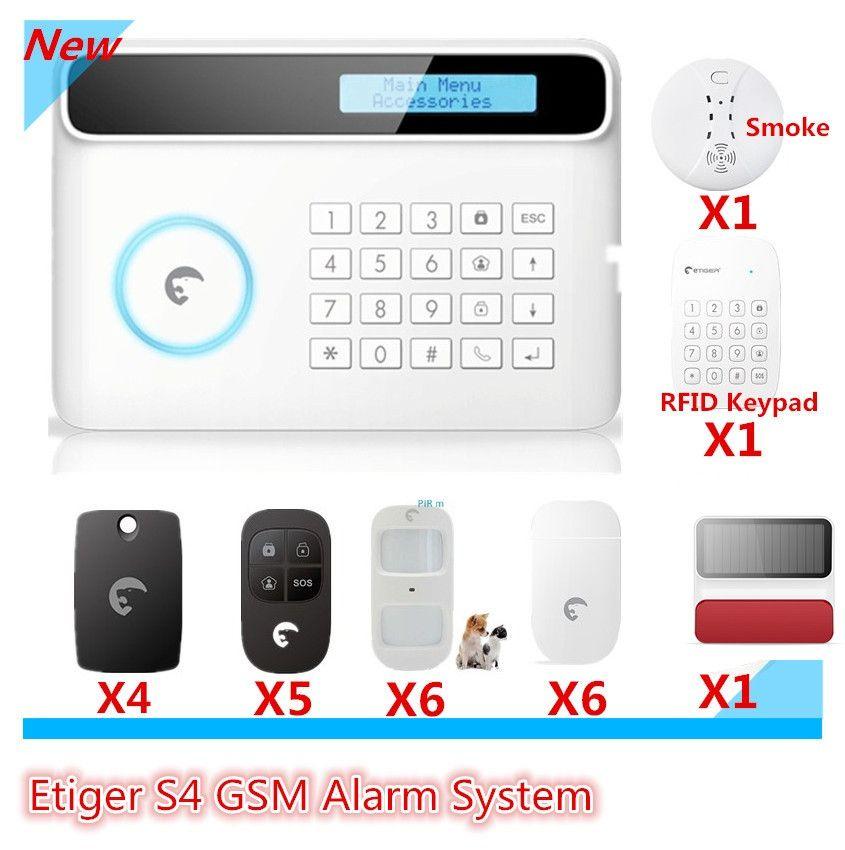2018 most advanced Etiger GSM Smart Home Burglar Alarm Aystem with RFID reading keypad arm/disarm alarm system solar siren threa