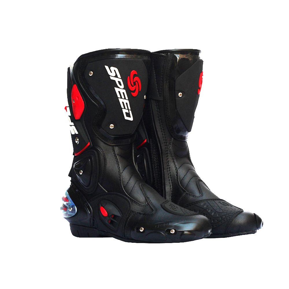 PRO-BIKER SPEED BIKERS Motorcycle Boots Moto Racing Motocross Off-Road Motorbike Shoes Black/White Size 40/41/42/43/44