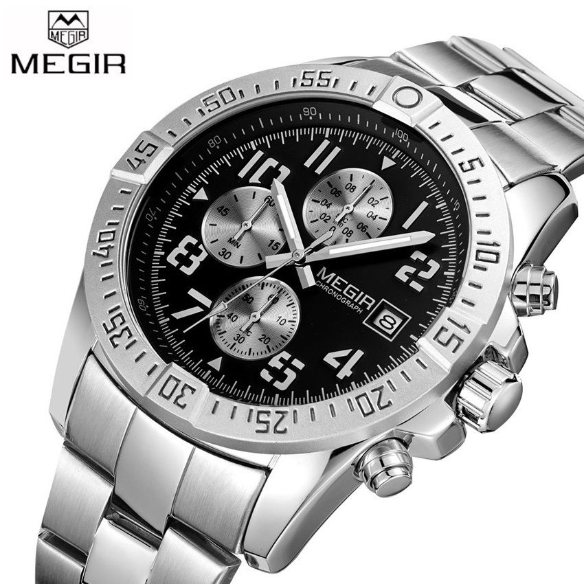 2017 New MEGIR Men's Chronograph Casual Watch Luxury Brand Quartz Wrist Watches Military Men <font><b>Clock</b></font> Male Waterproof Sport Watch