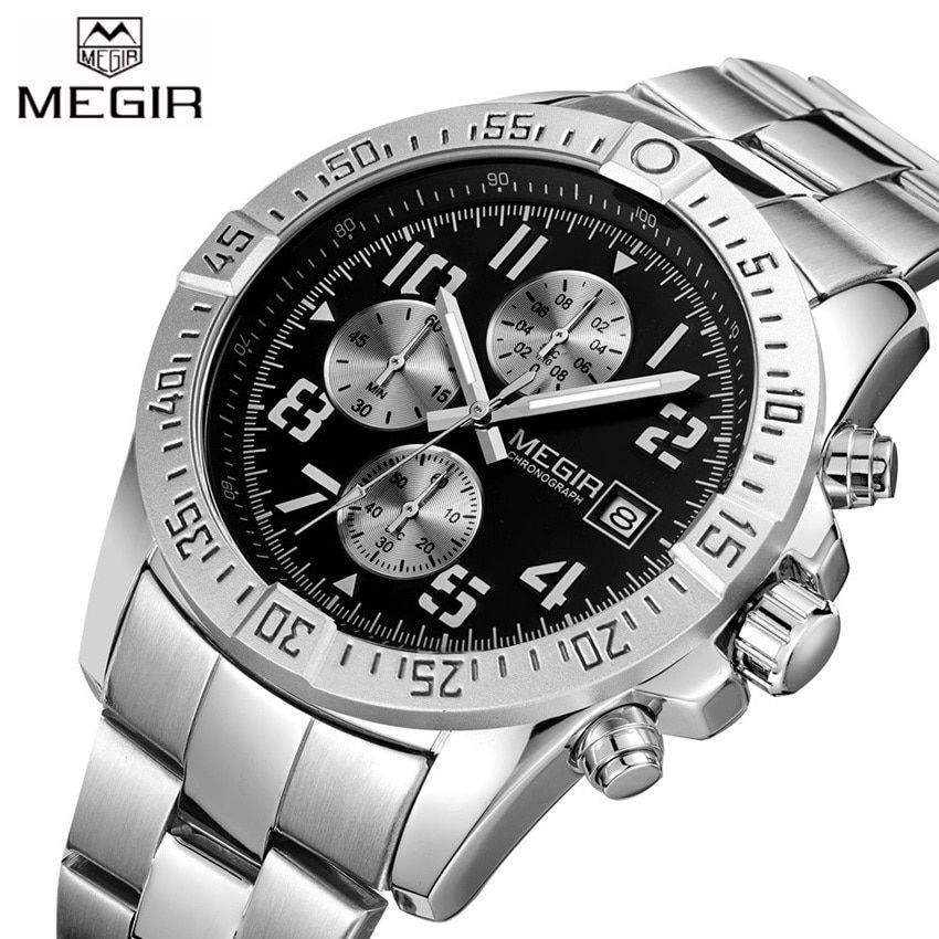 2017 New MEGIR Men's Chronograph Casual Watch Luxury Brand <font><b>Quartz</b></font> Wrist Watches Military Men Clock Male Waterproof Sport Watch