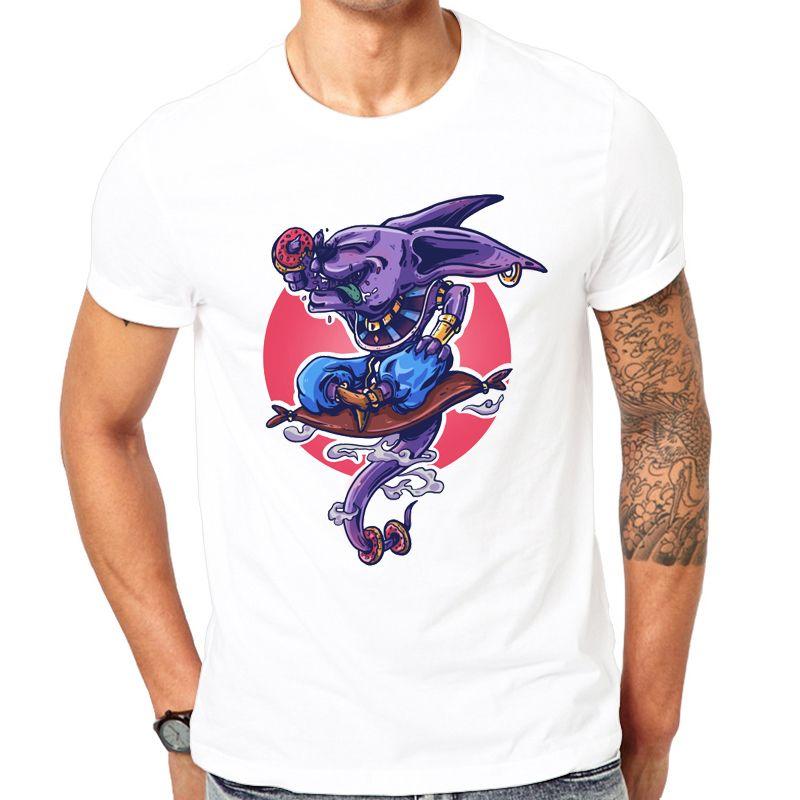 2019 nouvelle mode Cool imprimé Beerus détruire T-Shirt été à la mode hommes Hip Hop à manches courtes drôle Dragon Ball Tee hauts