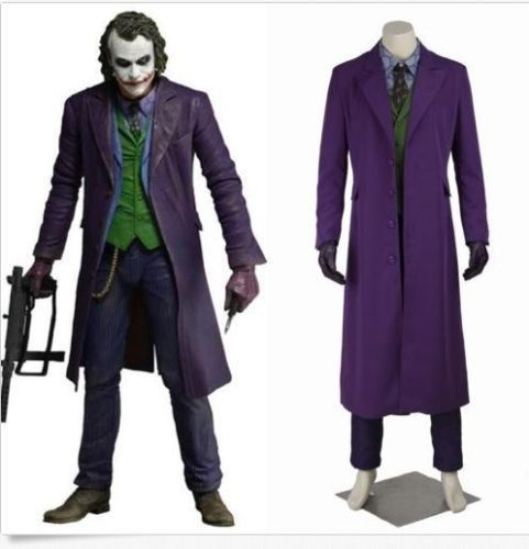 Halloween Mens Cosplay Knight Rise Joker Outfits Movie Costume Suits Long Sets custom made