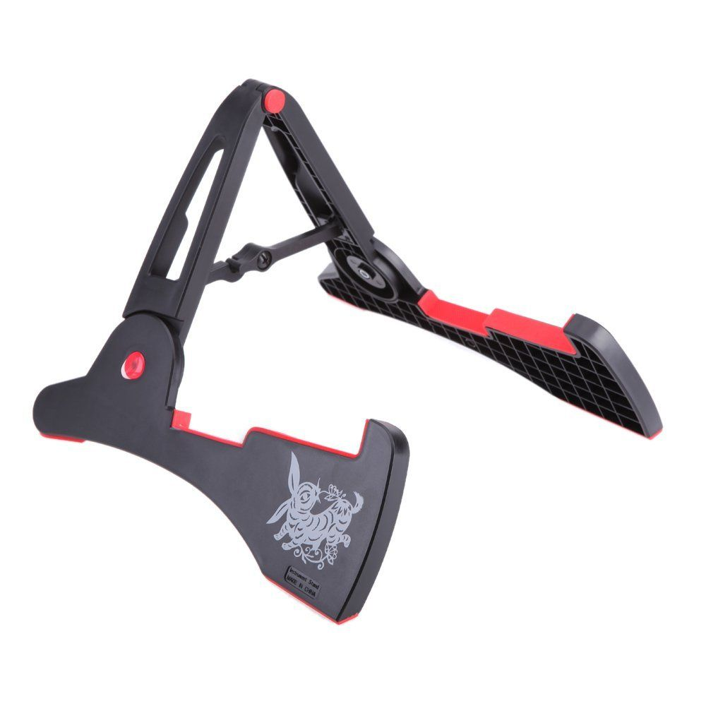 AGS-03 Stand A-frame Holder Bracket for All Sizes of Guitars Basses Stringed Instrument Universal Compact Rabbit Shape Black