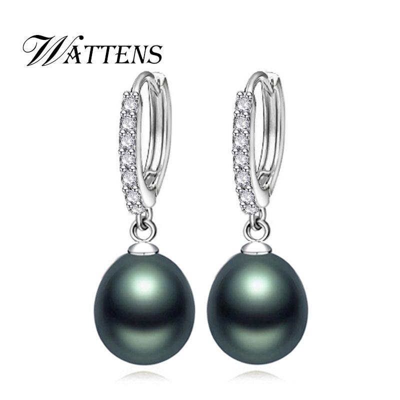 Boucles d'oreilles perle pour femmes 925 boucles d'oreilles en argent Sterling blanc noir naturel perle d'eau douce bijoux mariage fête amour cadeau nouveau