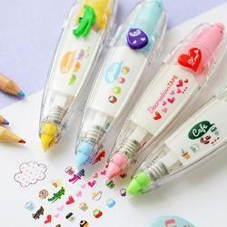 Vodool corazón prensa tipo decorativo pluma cinta correctora tortas animales diario creativo escuela papelería suministros estudiantes regalos