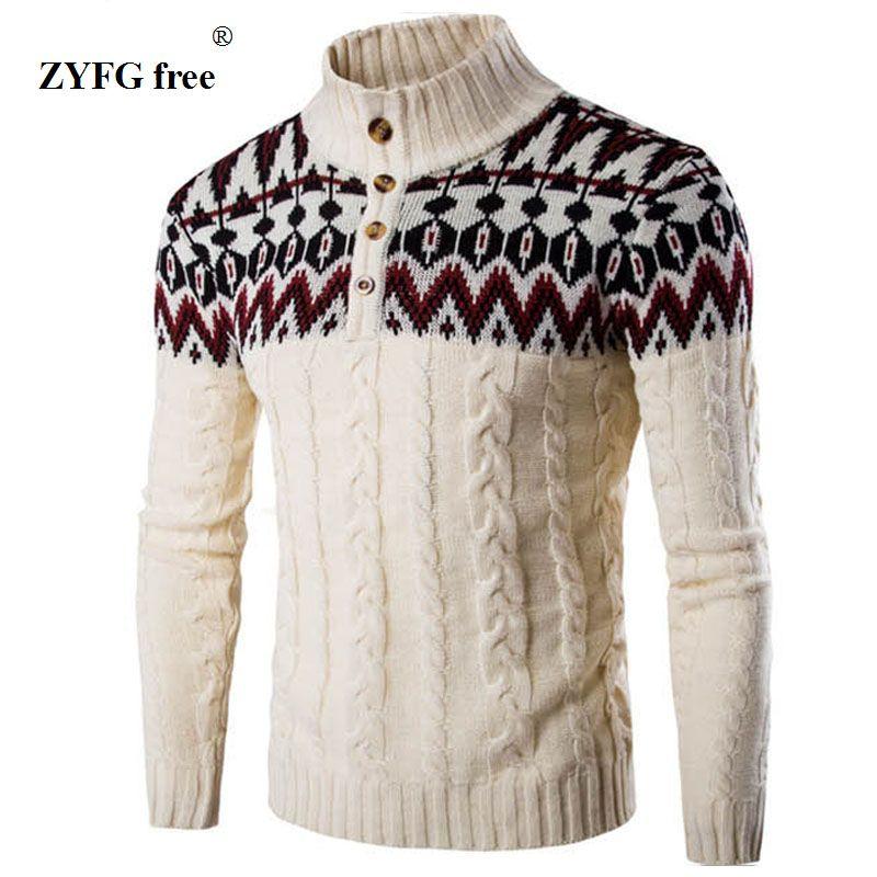 ZYFG hiver gratuit épais chaud cachemire Pull hommes col montant hommes chandails Slim Fit Pull hommes classique laine tricots Pull Homme