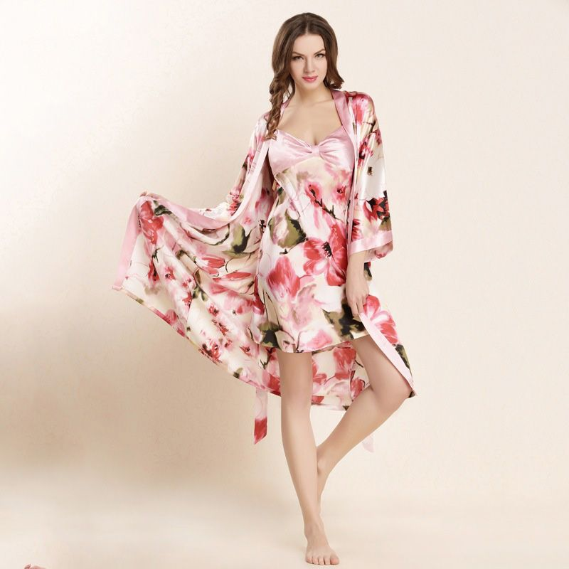 High Quality Real Silk Sleeping Robe Sets Female Sexy Natural Silk Sleepwear Women Fashion Printed Long-Sleeved Bathrobes