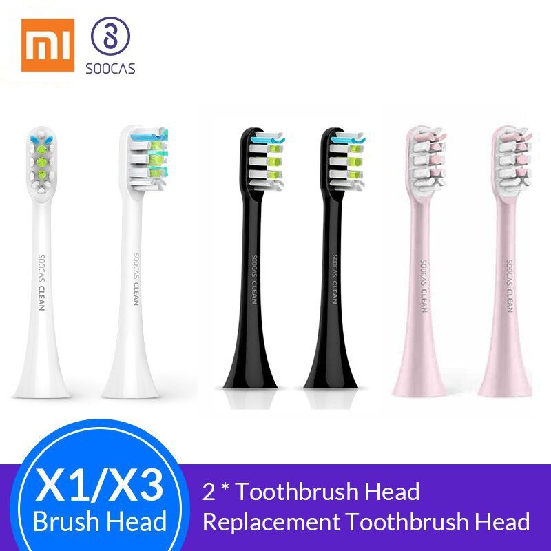 Soocas X3 X1 X5 têtes de brosse à dents pour Xiaomi Mijia X3 tête de brosse à dents original Sonic électrique têtes de brosse à dents de remplacement 2 pièces