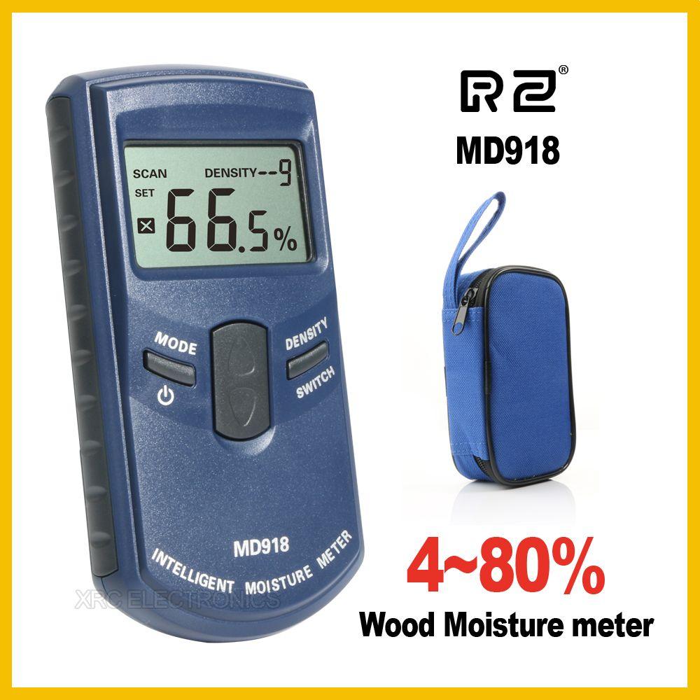 RZ Inductive Wood Timber Moisture Meter Hygrometer Digital Electrical <font><b>Tester</b></font> Measuring tool MD918 4~80% Density electromanetic